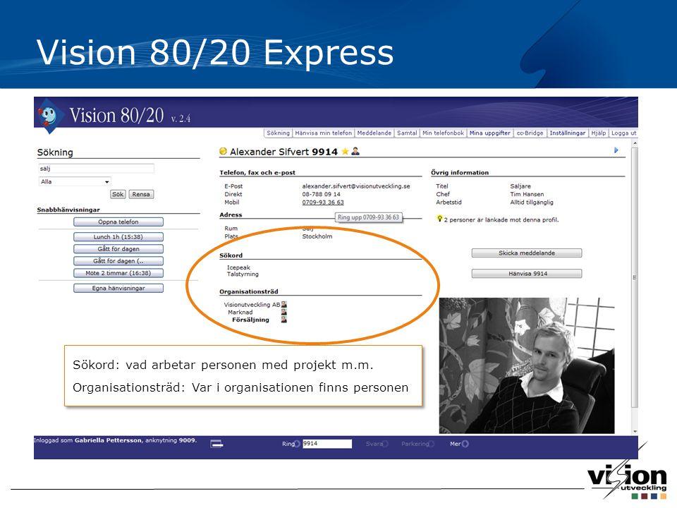 Vision 80/20 Express Sökord: vad arbetar personen med projekt m.m. Organisationsträd: Var i organisationen finns personen