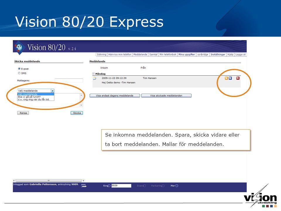 Vision 80/20 Express Se inkomna meddelanden.Spara, skicka vidare eller ta bort meddelanden.