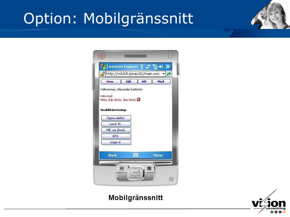 Mobilgränssnitt Option: Mobilgränssnitt