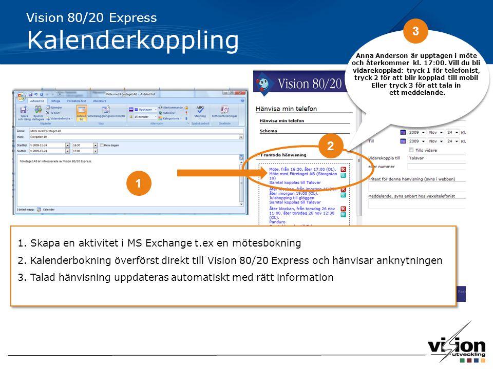 Vision 80/20 Express Kalenderkoppling 1 2 1. Skapa en aktivitet i MS Exchange t.ex en mötesbokning 2. Kalenderbokning överförst direkt till Vision 80/