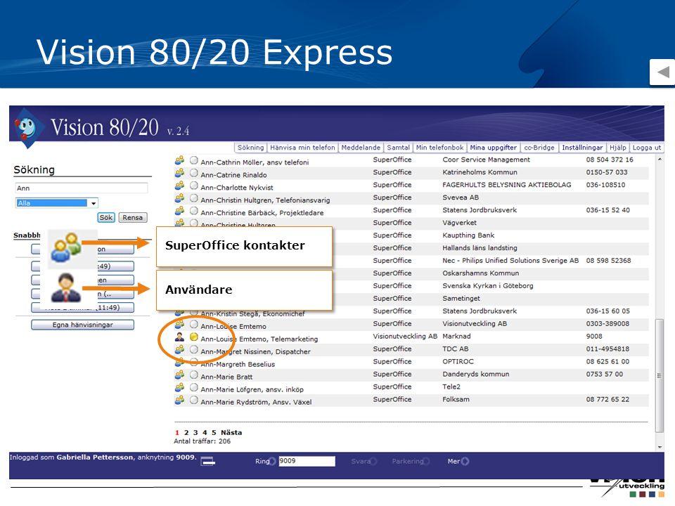 Vision 80/20 Express SuperOffice kontakter Användare