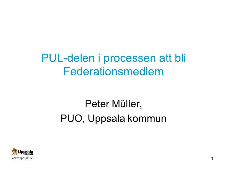 1 PUL-delen i processen att bli Federationsmedlem Peter Müller, PUO, Uppsala kommun
