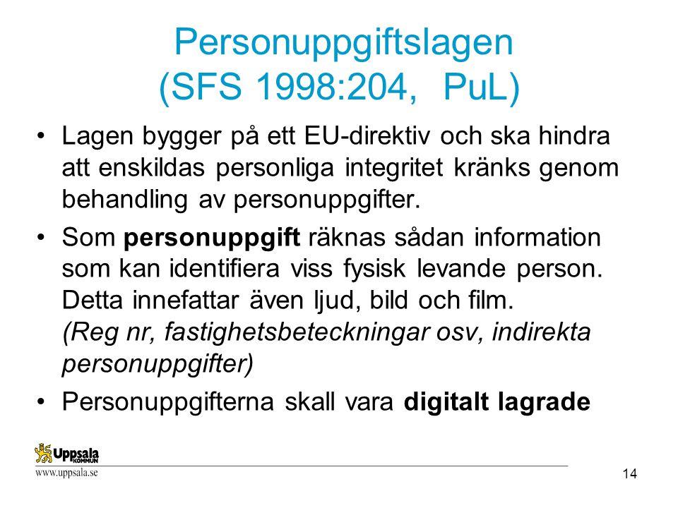 14 Personuppgiftslagen (SFS 1998:204, PuL) Lagen bygger på ett EU-direktiv och ska hindra att enskildas personliga integritet kränks genom behandling av personuppgifter.