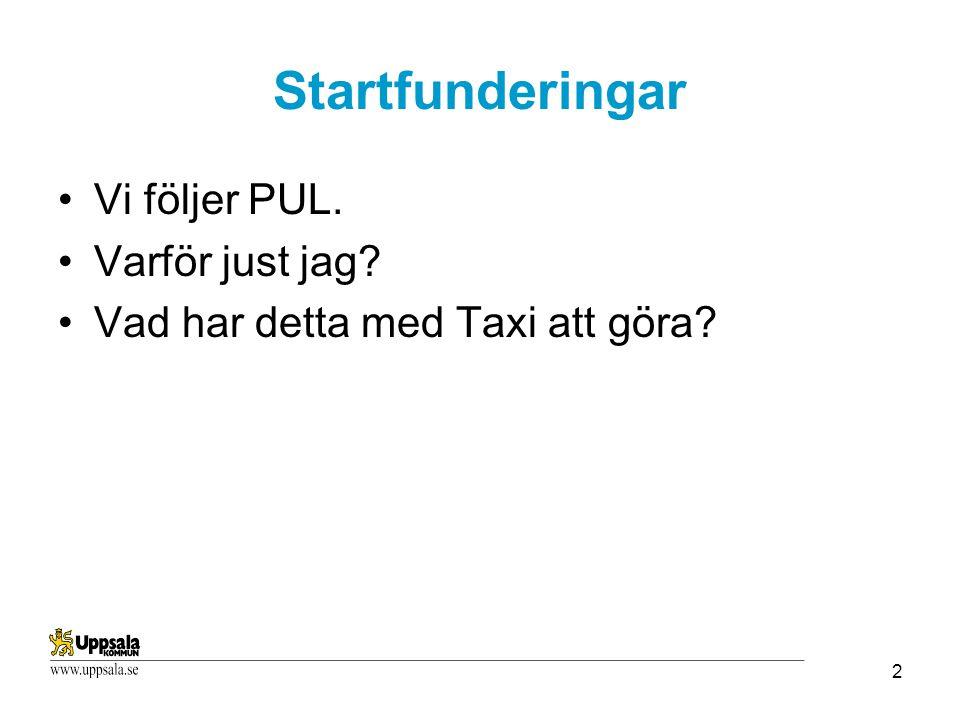 2 Startfunderingar Vi följer PUL. Varför just jag? Vad har detta med Taxi att göra?