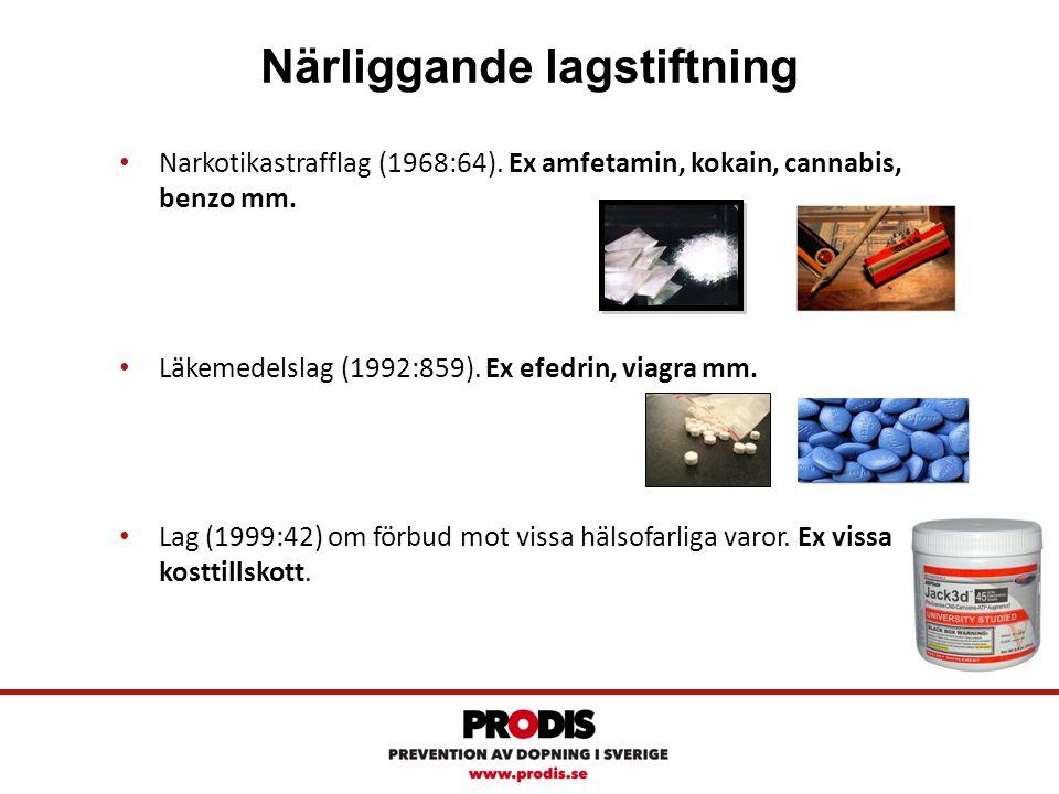 Närliggande lagstiftning Narkotikastrafflag (1968:64). Ex amfetamin, kokain, cannabis, benzo mm. Läkemedelslag (1992:859). Ex efedrin, viagra mm. Lag