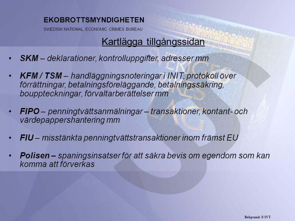 SKM – deklarationer, kontrolluppgifter, adresser mm KFM / TSM – handläggningsnoteringar i INIT, protokoll över förrättningar, betalningsföreläggande, betalningssäkring, bouppteckningar, förvaltarberättelser mm FIPO – penningtvättsanmälningar – transaktioner, kontant- och värdepappershantering mm FIU – misstänkta penningtvättstransaktioner inom främst EU Polisen – spaningsinsatser för att säkra bevis om egendom som kan komma att förverkas EKOBROTTSMYNDIGHETEN SWEDISH NATIONAL ECONOMIC CRIMES BUREAU Kartlägga tillgångssidan Bakgrund: © SVT