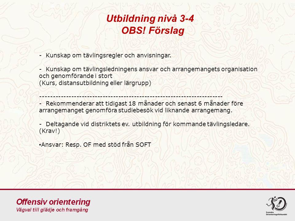 Utbildning nivå 3-4 OBS! Förslag - Kunskap om tävlingsregler och anvisningar. - Kunskap om tävlingsledningens ansvar och arrangemangets organisation o