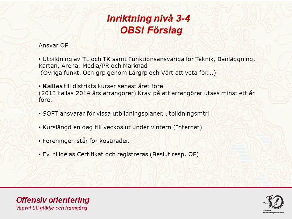Inriktning nivå 3-4 OBS! Förslag Ansvar OF Utbildning av TL och TK samt Funktionsansvariga för Teknik, Banläggning, Kartan, Arena, Media/PR och Markna