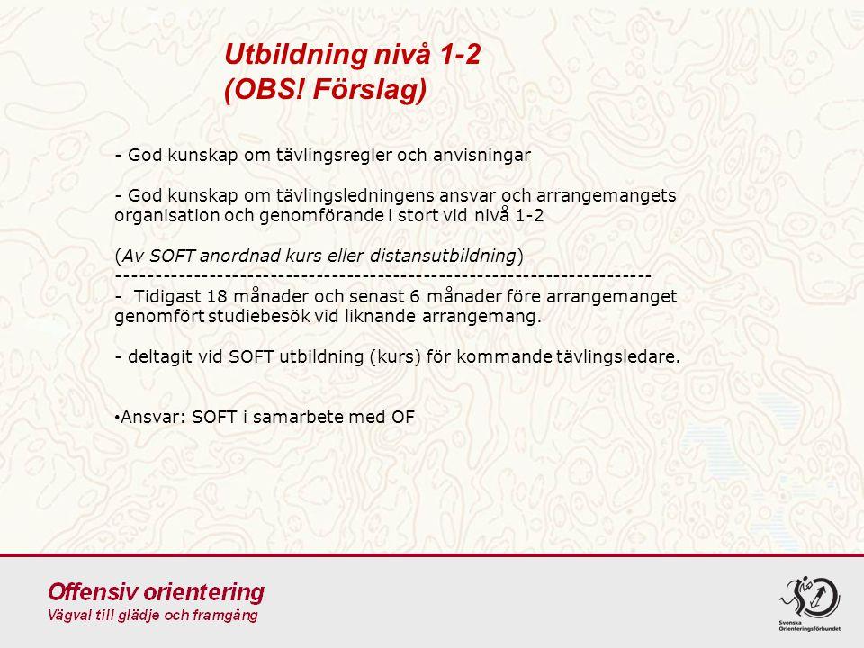 Utbildning nivå 1-2 (OBS! Förslag) - God kunskap om tävlingsregler och anvisningar - God kunskap om tävlingsledningens ansvar och arrangemangets organ