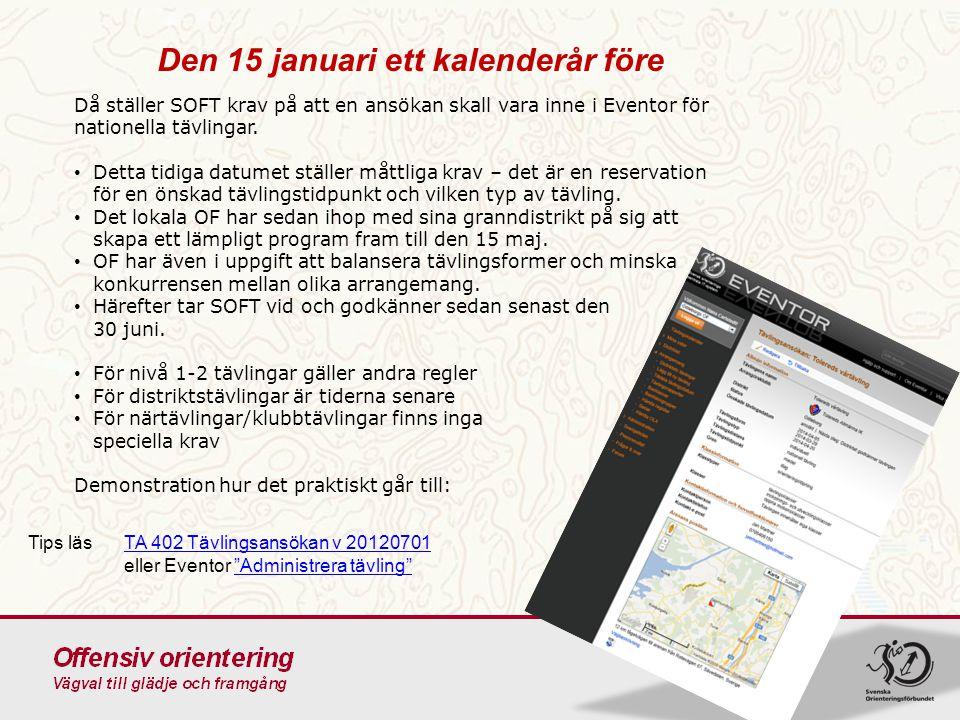 Den 15 januari ett kalenderår före Då ställer SOFT krav på att en ansökan skall vara inne i Eventor för nationella tävlingar. Detta tidiga datumet stä