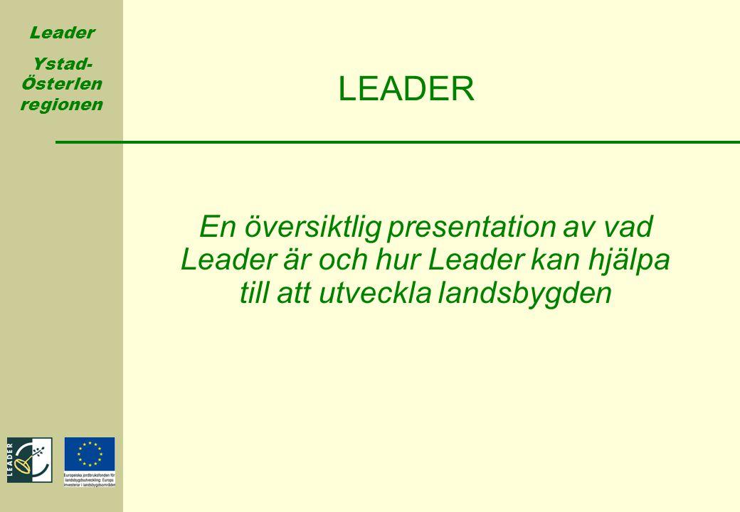 Leader Ystad- Österlen regionen LEADER En översiktlig presentation av vad Leader är och hur Leader kan hjälpa till att utveckla landsbygden
