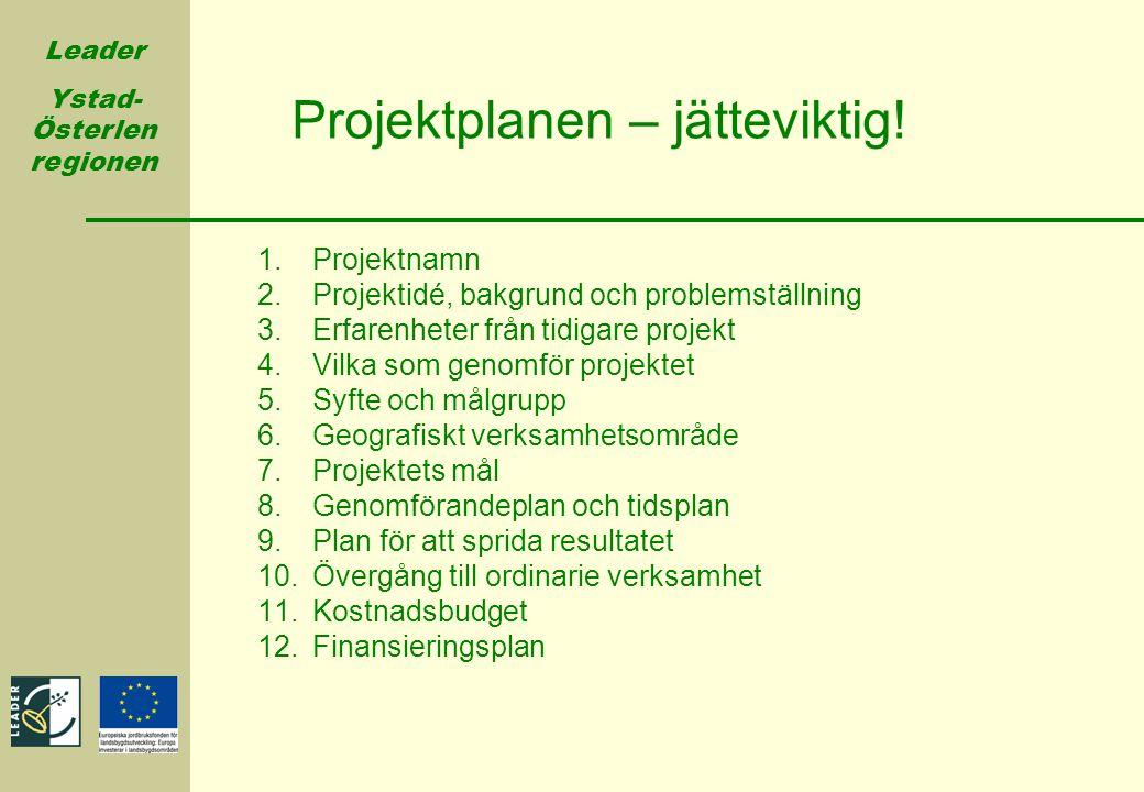 Leader Ystad- Österlen regionen 1.Projektnamn 2.Projektidé, bakgrund och problemställning 3.Erfarenheter från tidigare projekt 4.Vilka som genomför pr