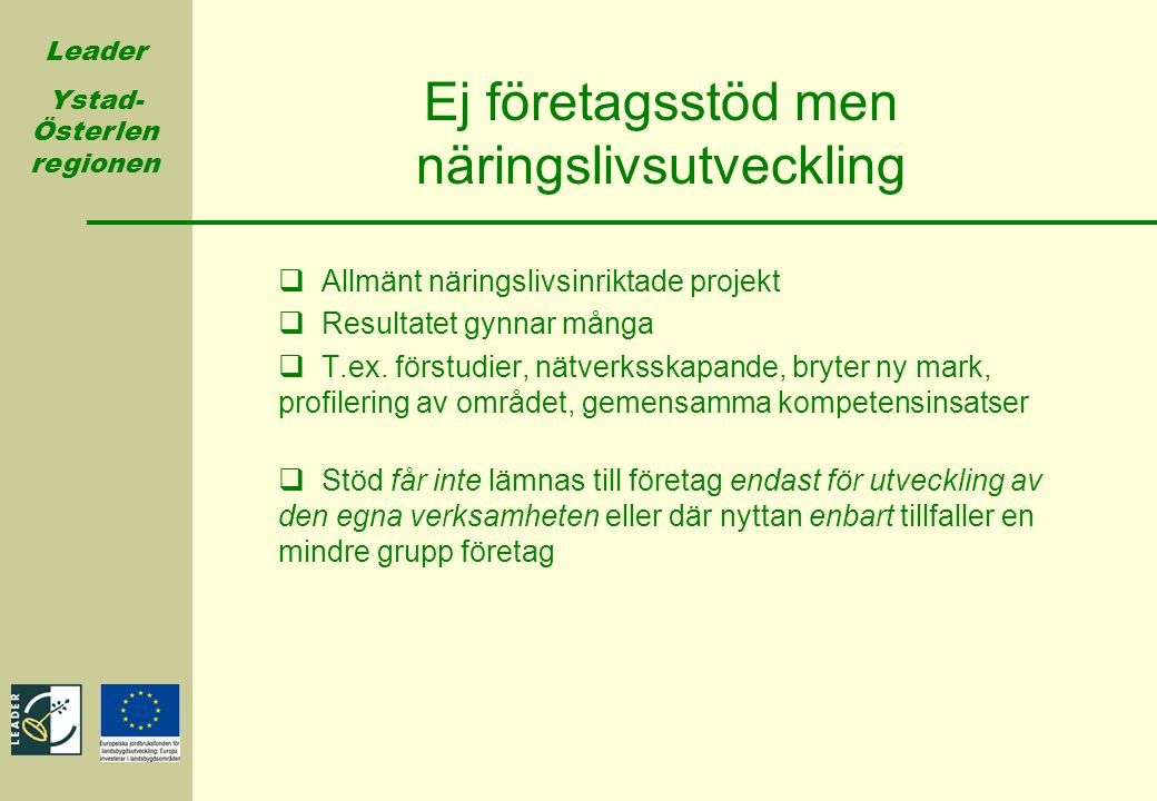 Leader Ystad- Österlen regionen Ej företagsstöd men näringslivsutveckling  Allmänt näringslivsinriktade projekt  Resultatet gynnar många  T.ex. för