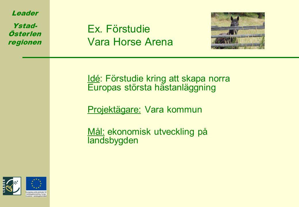 Leader Ystad- Österlen regionen Ex. Förstudie Vara Horse Arena Idé: Förstudie kring att skapa norra Europas största hästanläggning Projektägare: Vara