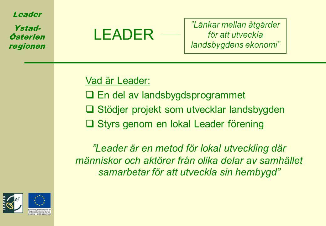 """Leader Ystad- Österlen regionen """"Länkar mellan åtgärder för att utveckla landsbygdens ekonomi"""" LEADER Vad är Leader:  En del av landsbygdsprogrammet"""
