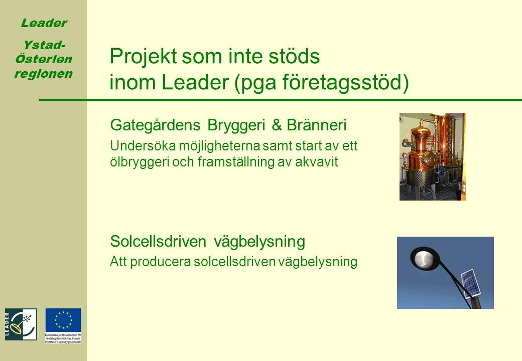 Leader Ystad- Österlen regionen Projekt som inte stöds inom Leader (pga företagsstöd) Gategårdens Bryggeri & Bränneri Undersöka möjligheterna samt sta