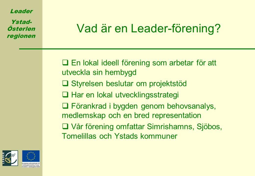 Leader Ystad- Österlen regionen Vad är en Leader-förening?  En lokal ideell förening som arbetar för att utveckla sin hembygd  Styrelsen beslutar om