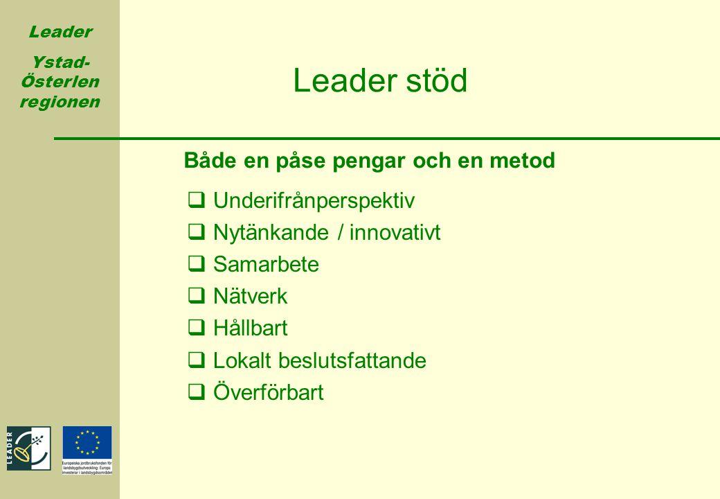 Leader Ystad- Österlen regionen  Underifrånperspektiv  Nytänkande / innovativt  Samarbete  Nätverk  Hållbart  Lokalt beslutsfattande  Överförba