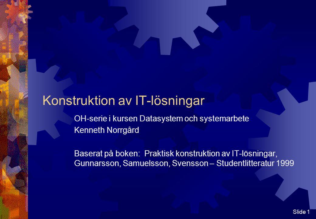 Slide 1 Konstruktion av IT-lösningar OH-serie i kursen Datasystem och systemarbete Kenneth Norrgård Baserat på boken: Praktisk konstruktion av IT-lösningar, Gunnarsson, Samuelsson, Svensson – Studentlitteratur 1999