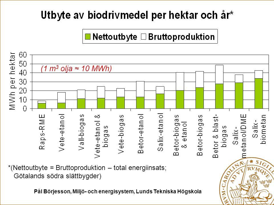 Pål Börjesson, Miljö- och energisystem, Lunds Tekniska Högskola *(Nettoutbyte = Bruttoproduktion – total energiinsats; Götalands södra slättbygder) (1