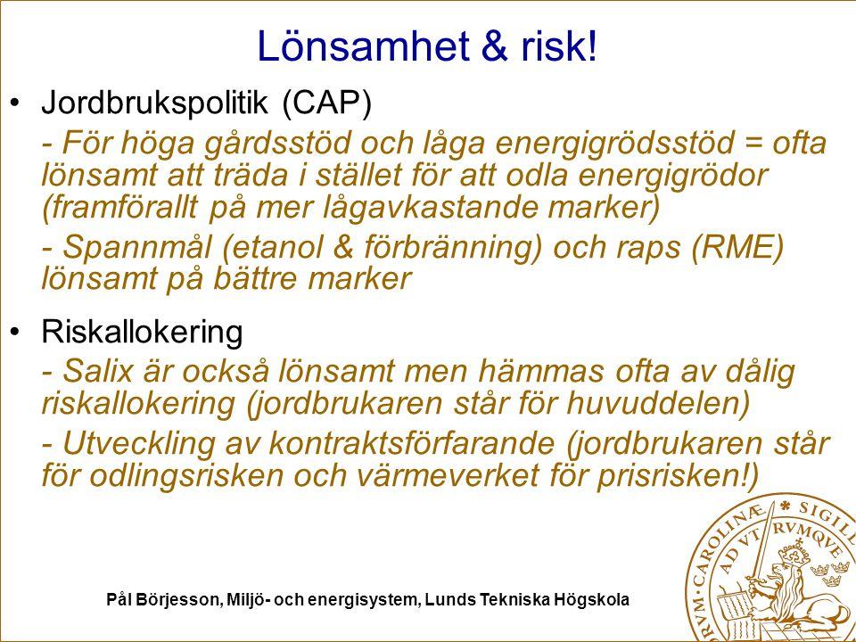 Pål Börjesson, Miljö- och energisystem, Lunds Tekniska Högskola Lönsamhet & risk! Jordbrukspolitik (CAP) - För höga gårdsstöd och låga energigrödsstöd