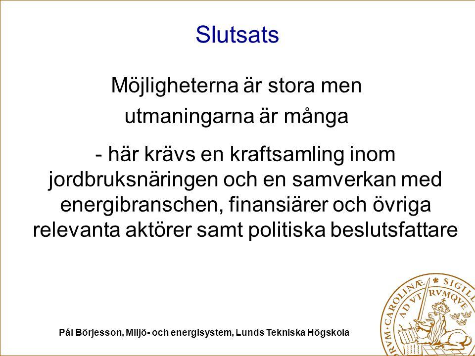 Pål Börjesson, Miljö- och energisystem, Lunds Tekniska Högskola Slutsats Möjligheterna är stora men utmaningarna är många - här krävs en kraftsamling