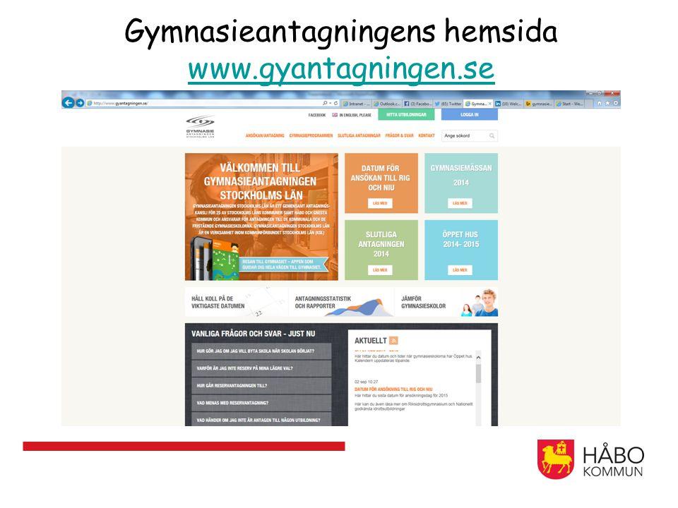 Gymnasieantagningens hemsida www.gyantagningen.se www.gyantagningen.se