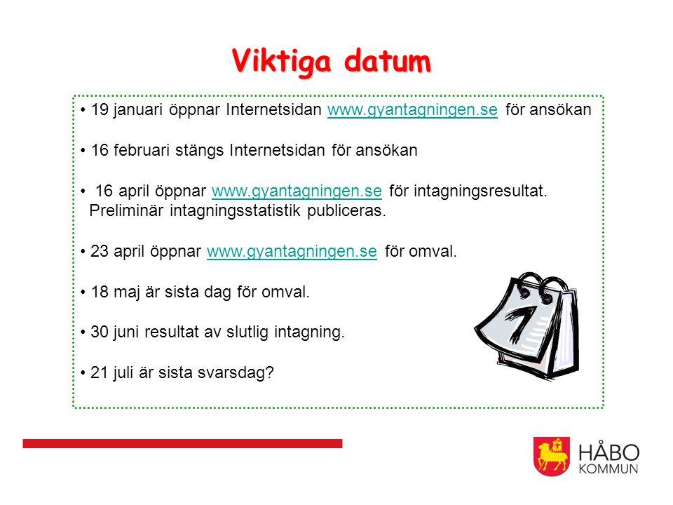 Viktiga datum 19 januari öppnar Internetsidan www.gyantagningen.se för ansökanwww.gyantagningen.se 16 februari stängs Internetsidan för ansökan 16 apr