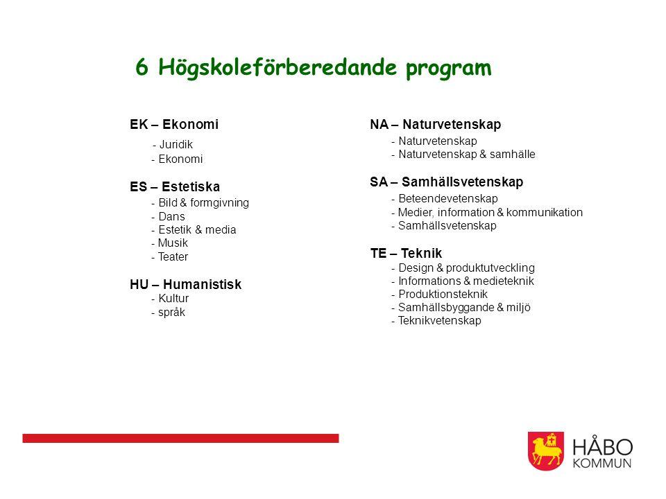 6 Högskoleförberedande program EK – Ekonomi - Juridik - Ekonomi ES – Estetiska - Bild & formgivning - Dans - Estetik & media - Musik - Teater HU – Hum