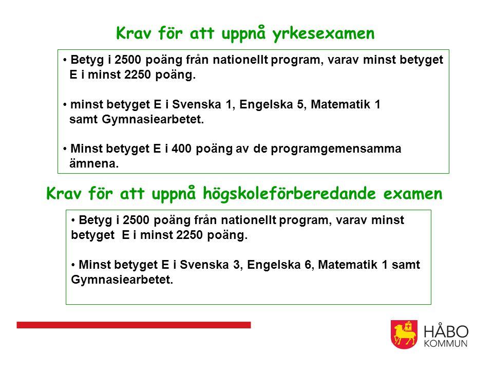 Krav för att uppnå yrkesexamen Betyg i 2500 poäng från nationellt program, varav minst betyget E i minst 2250 poäng.