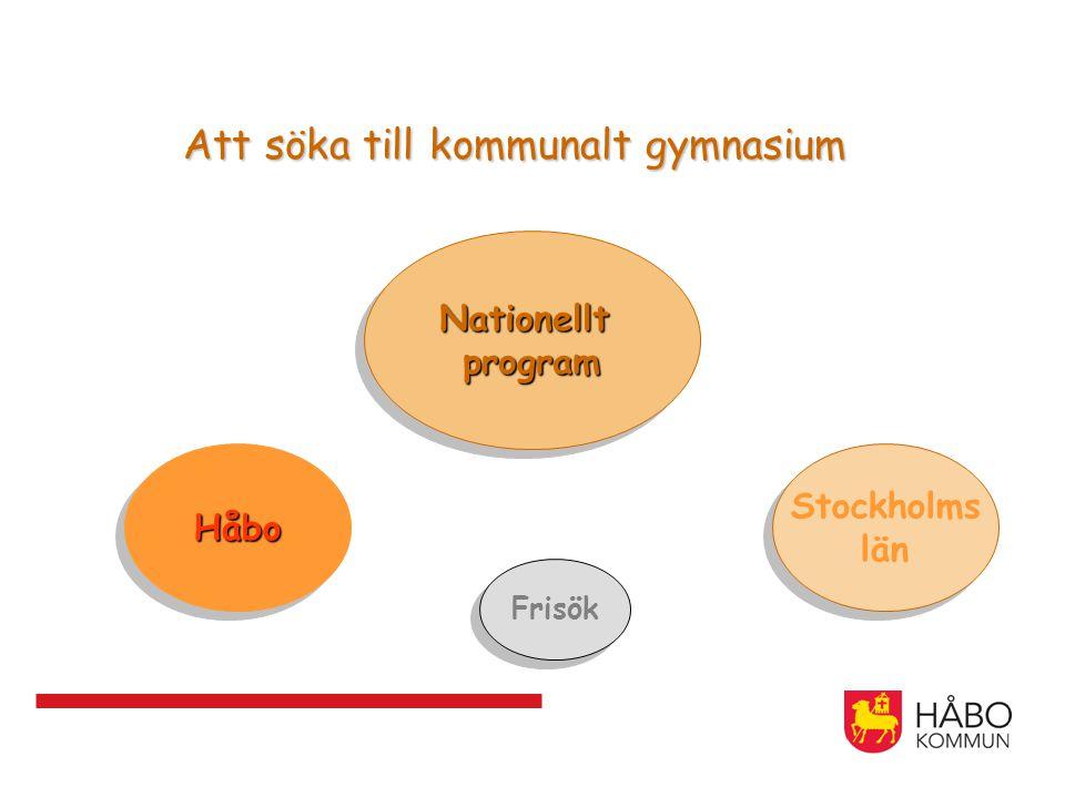 Att söka till kommunalt gymnasium NationelltprogramNationelltprogram HåboHåbo Frisök Stockholms län Stockholms län