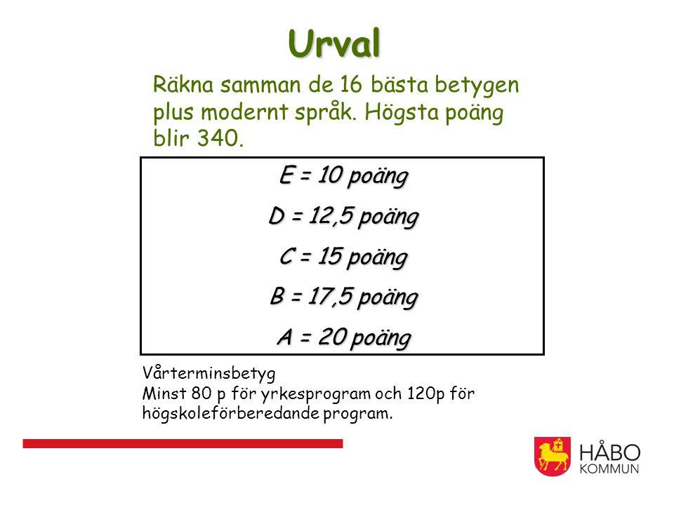 Urval Räkna samman de 16 bästa betygen plus modernt språk. Högsta poäng blir 340. E = 10 poäng D = 12,5 poäng C = 15 poäng B = 17,5 poäng A = 20 poäng