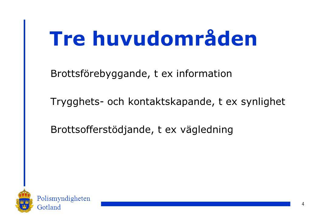 5 Polismyndigheten Gotland Volontärverksamheten idag Stockholms län Hallstahammars kommun Snart på Gotland Stort intresse från övriga landet, främst Skåne och Västra Götaland