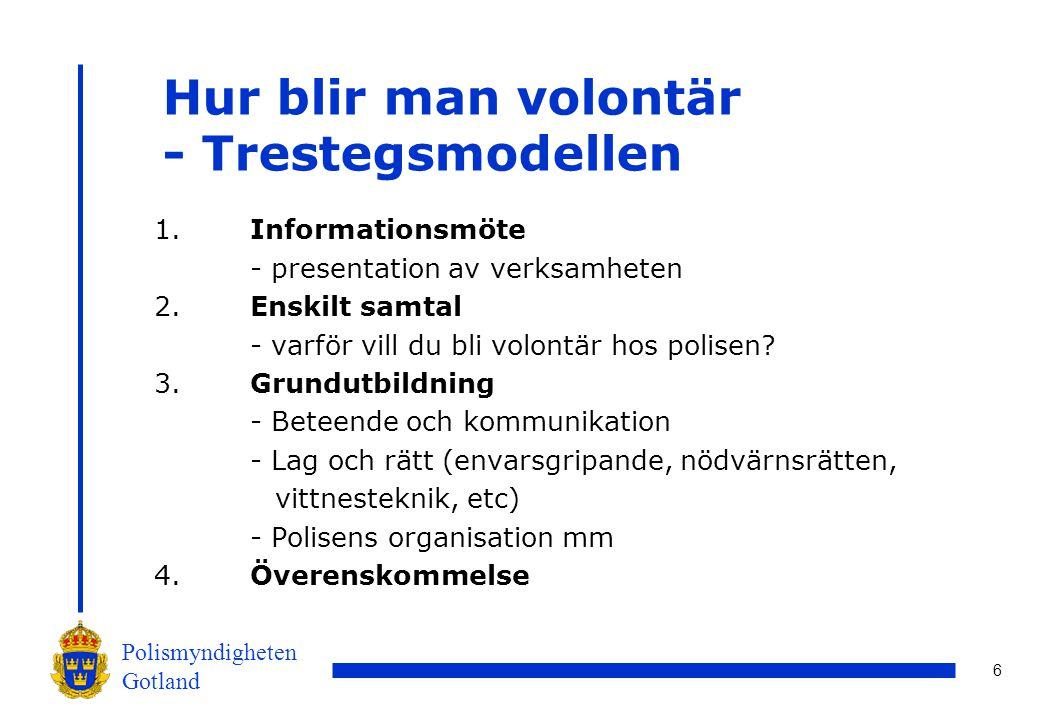 6 Polismyndigheten Gotland Hur blir man volontär - Trestegsmodellen 1.