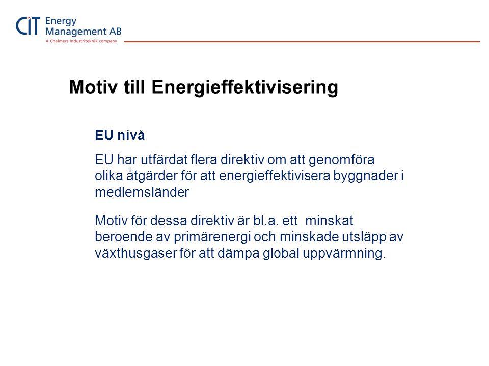 Motiv till Energieffektivisering Nationell nivå Sverige, som EU medlem, är förpliktigad att minst följa utfärdade EU direktiv.