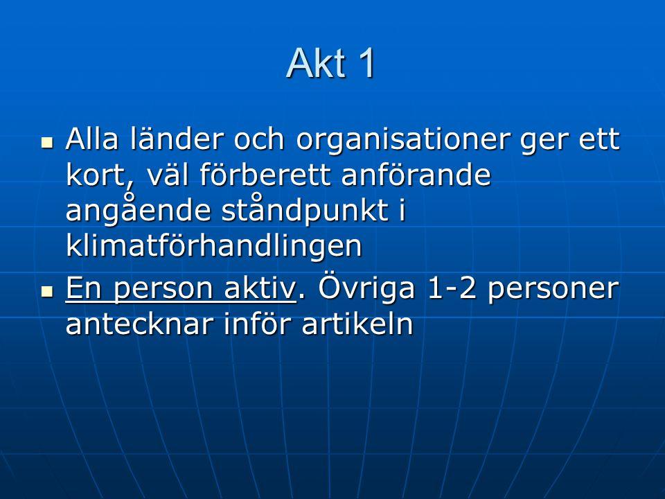 Akt 1 Alla länder och organisationer ger ett kort, väl förberett anförande angående ståndpunkt i klimatförhandlingen Alla länder och organisationer ger ett kort, väl förberett anförande angående ståndpunkt i klimatförhandlingen En person aktiv.