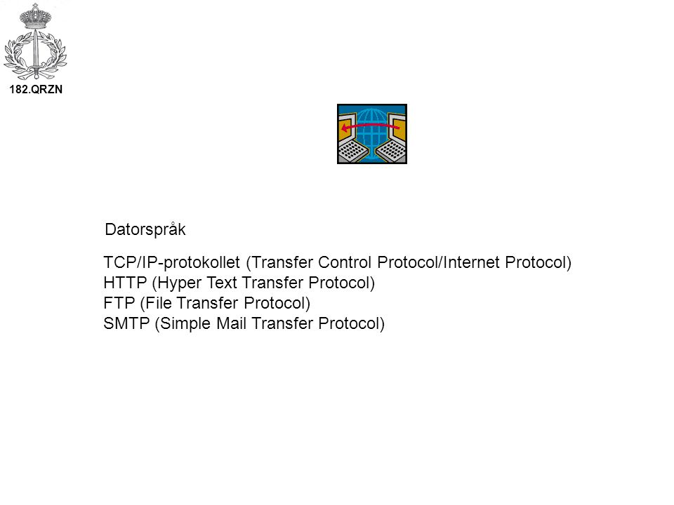 TCP/IP-protokollet (Transfer Control Protocol/Internet Protocol) HTTP (Hyper Text Transfer Protocol) FTP (File Transfer Protocol) SMTP (Simple Mail Tr
