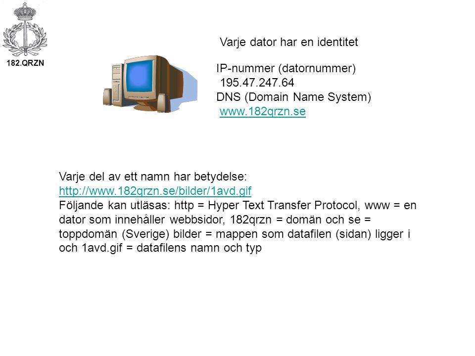 IP-nummer (datornummer) 195.47.247.64 DNS (Domain Name System) www.182qrzn.se Varje dator har en identitet Varje del av ett namn har betydelse: http://www.182qrzn.se/bilder/1avd.gif Följande kan utläsas: http = Hyper Text Transfer Protocol, www = en dator som innehåller webbsidor, 182qrzn = domän och se = toppdomän (Sverige) bilder = mappen som datafilen (sidan) ligger i och 1avd.gif = datafilens namn och typ 182.QRZN