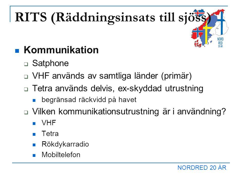 RITS (Räddningsinsats till sjöss) Kommunikation  Satphone  VHF används av samtliga länder (primär)  Tetra används delvis, ex-skyddad utrustning begränsad räckvidd på havet  Vilken kommunikationsutrustning är i användning.