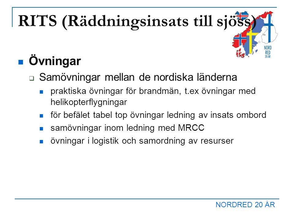 NORDRED 20 ÅR RITS (Räddningsinsats till sjöss) Övningar  Samövningar mellan de nordiska länderna praktiska övningar för brandmän, t.ex övningar med helikopterflygningar för befälet tabel top övningar ledning av insats ombord samövningar inom ledning med MRCC övningar i logistik och samordning av resurser