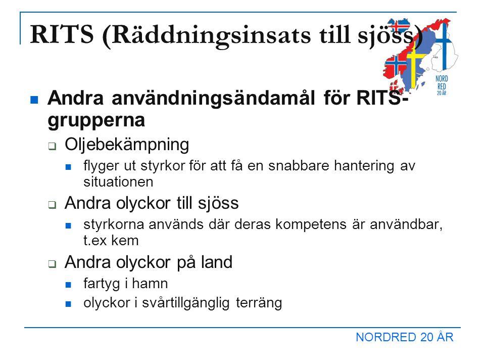 NORDRED 20 ÅR RITS (Räddningsinsats till sjöss) Andra användningsändamål för RITS- grupperna  Oljebekämpning flyger ut styrkor för att få en snabbare