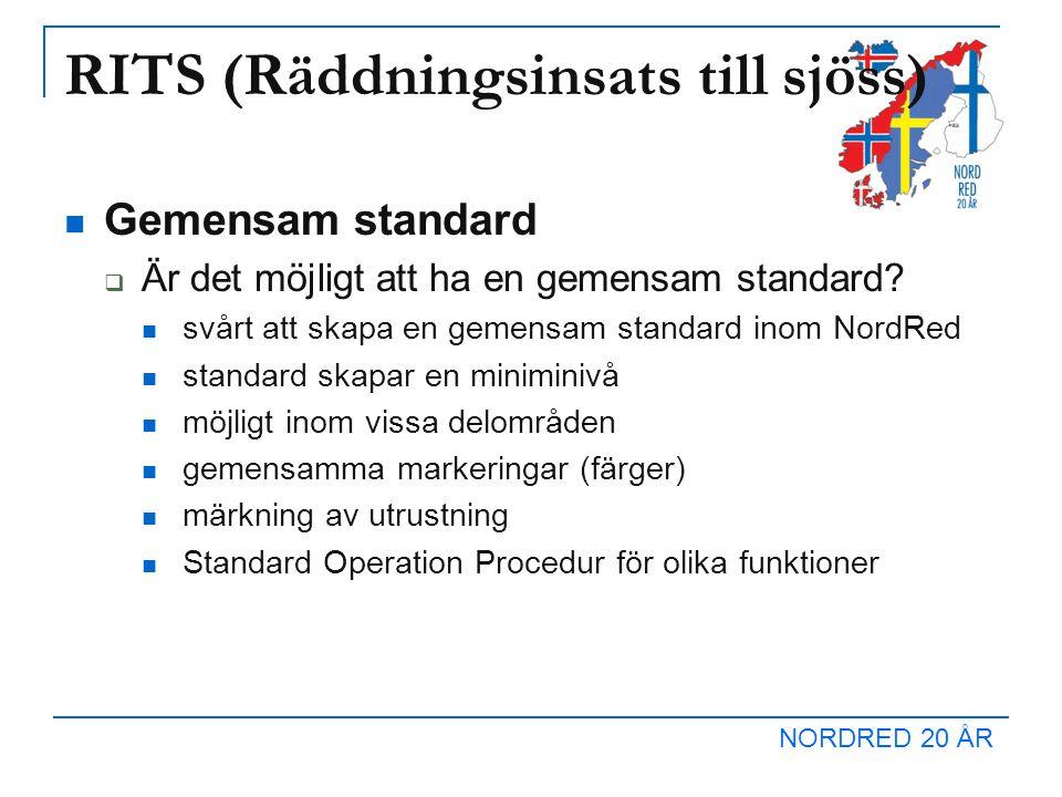 NORDRED 20 ÅR RITS (Räddningsinsats till sjöss) Gemensam standard  Är det möjligt att ha en gemensam standard? svårt att skapa en gemensam standard i
