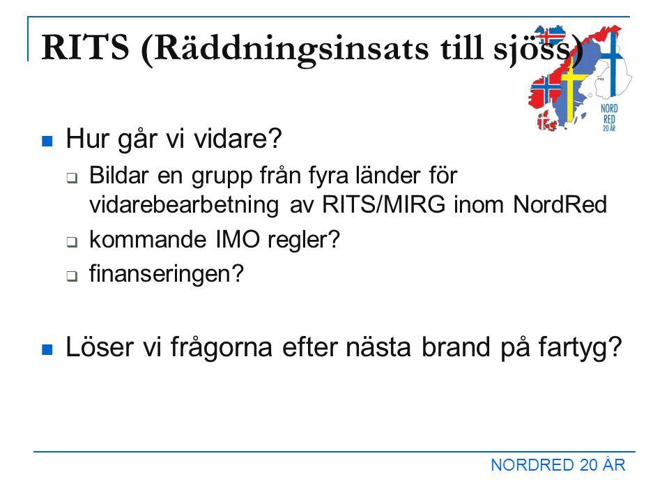 NORDRED 20 ÅR RITS (Räddningsinsats till sjöss) Hur går vi vidare.