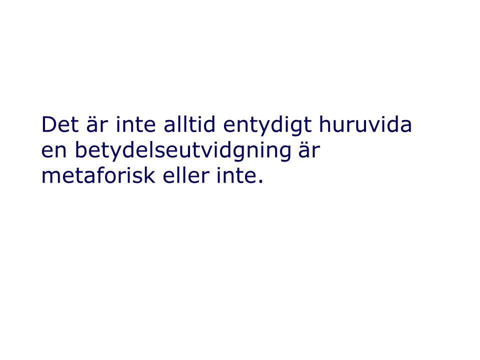 Exempel på metaforiska betydelseutvidgningar (utvidgningar av ordens denotation eller konnotation) Papperskorgar i operativsystem utvidgar begreppet papperskorg.