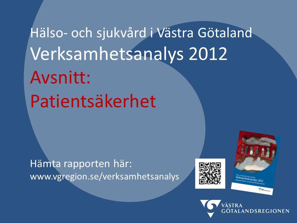 Hälso- och sjukvård i Västra Götaland Verksamhetsanalys 2012 Avsnitt: Patientsäkerhet Hämta rapporten här: www.vgregion.se/verksamhetsanalys