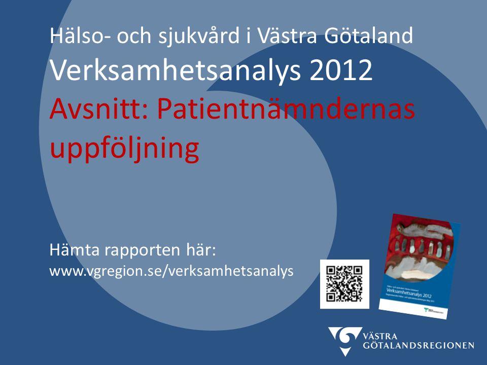 Hälso- och sjukvård i Västra Götaland Verksamhetsanalys 2012 Avsnitt: Patientnämndernas uppföljning Hämta rapporten här: www.vgregion.se/verksamhetsanalys