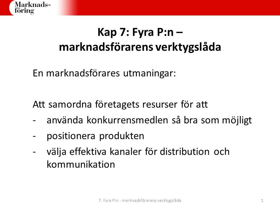Kap 7: Fyra P:n – marknadsförarens verktygslåda En marknadsförares utmaningar: Att samordna företagets resurser för att -använda konkurrensmedlen så b
