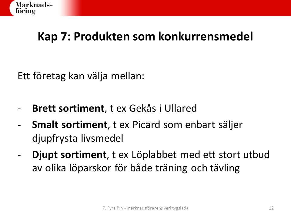 Kap 7: Produkten som konkurrensmedel Ett företag kan välja mellan: -Brett sortiment, t ex Gekås i Ullared -Smalt sortiment, t ex Picard som enbart säl