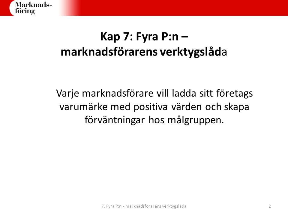 Kap 7: Fyra P:n – marknadsförarens verktygslåda Varje marknadsförare vill ladda sitt företags varumärke med positiva värden och skapa förväntningar ho
