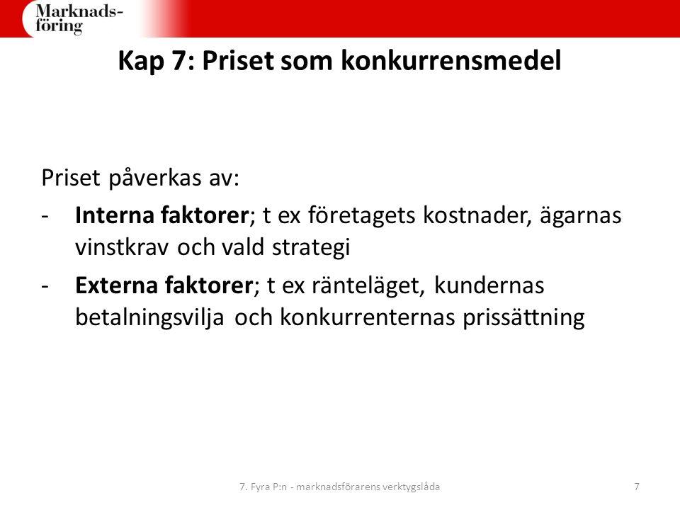 Kap 7: Priset som konkurrensmedel Priset påverkas av: -Interna faktorer; t ex företagets kostnader, ägarnas vinstkrav och vald strategi -Externa fakto